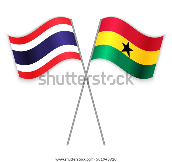 Thai and Ghanaian crossed flags. Thailand combined with Ghana isolated on white. Language learning, international business or travel concept.