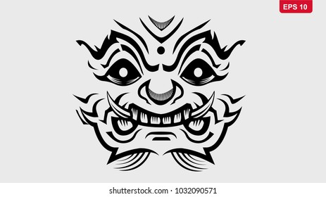 Thai Giant Monster vector eps10. outline  design for poster, tattoo, logo.