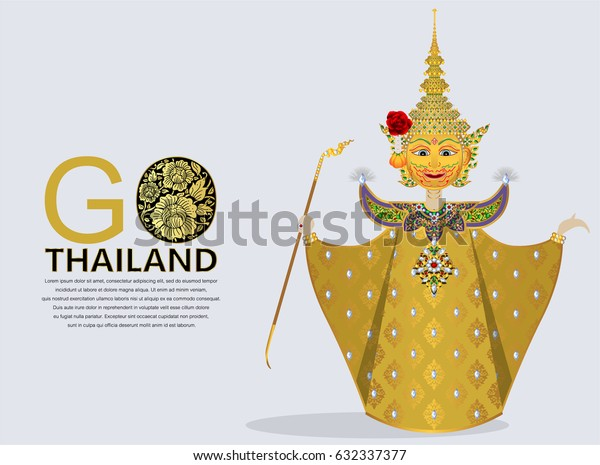 Thai giant ramayana puppet vector ( Thai language name is Phra Luk ) with gold patterned and crystals color for concept travel thailand.