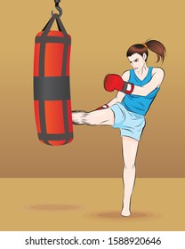Thai girl boxing with punching bag. line hand drawn. vector illustration isolated cartoon
