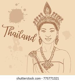 Thai girl retro style travel poster postcard hand drawn sketch