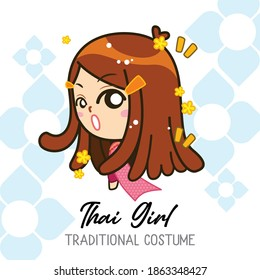 Thai  girl in traditional costume collection, women wearing traditional Thai dress, Vector Illustration