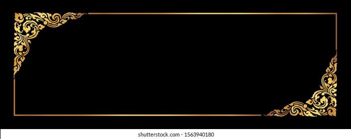 Thai gold corner frame on a black background for card design or for making sign boards.