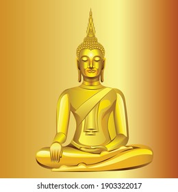 Thai Golden Buddha statue Graphic vector. Buddha image in Thailand vector illustration.