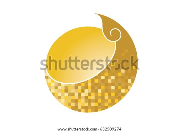 Thai golden pixel pattern logo