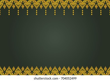 Thai golden vintage pattern vector abstract background frame