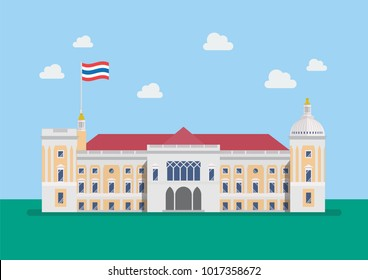 Thai Government House building. Vector illustration