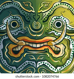 Thai Guardian Giant Monster or Tosakan  face.Warrior Of The Ramayana vector