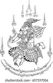 thai hermit vector. Thai ancient tattoo.