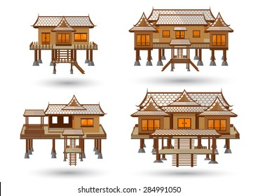 Thai house central region. Thai house style vector.Central Thai Wooden House Beautiful architecture.High detail wooden house Made of vector. One storey high floor to keep the wind blowing.