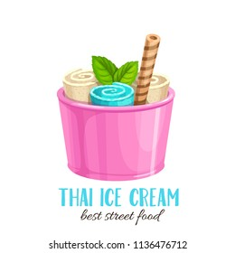 Thai ice cream roll with waffle. Vector cartoon flat icon summer refreshing dessert for design street food.