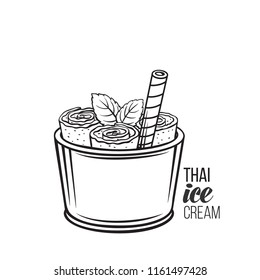 Thai ice cream roll with waffle. Vector icon summer asian dessert for design street food. Retro style.