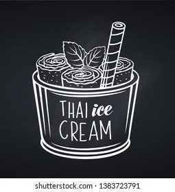 Thai ice cream roll with waffle, blackboard style. Vector icon summer asian ice cream dessert for design street food.