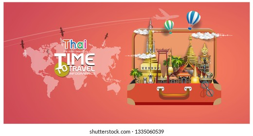 Thai identity, travel in Thailand Songkran Festival vector illustration of Info graphic elements for traveling to Thailand, concept Travel to Thailand. Info graphic Element / icon / Symbol , Vector