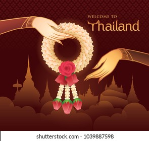 Thai Jasmine and Roses Garland, Illustration of Thai art, Gold Hand holding Garland Vector, Welcome to Songkran Festival in Thailand