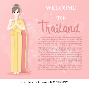Thai lady in Thai traditional costume greetings in Thai style called Sawaddee (meaning hello) , Welcome to Thailand, travel advertising design template. Vector illustration.