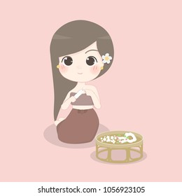 Thai lady in Thai traditional dress, Character design vector illustration.