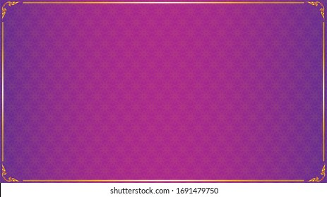 Thai luxury purple background with golden frame wallpaper with floral patterns
