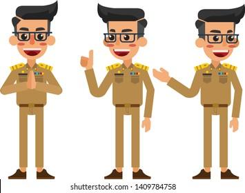 Thai male in uniform, Thai male do various gestures, thai unifrom.