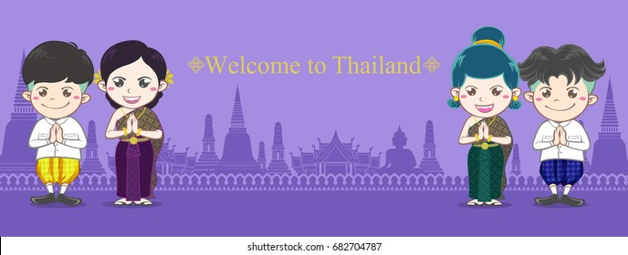 Thai man women boy and girl illustration characters wear thai costume They are thai hello  present on  purple color silhouette temple background vector banner design with Welcome to Thailand word