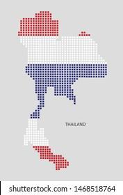 Thai map design flag Thai square, white background.