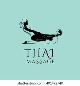 Thai massage vector logo design template. Spa and wellness vector . Health care sign (symbol, icon, illustration)