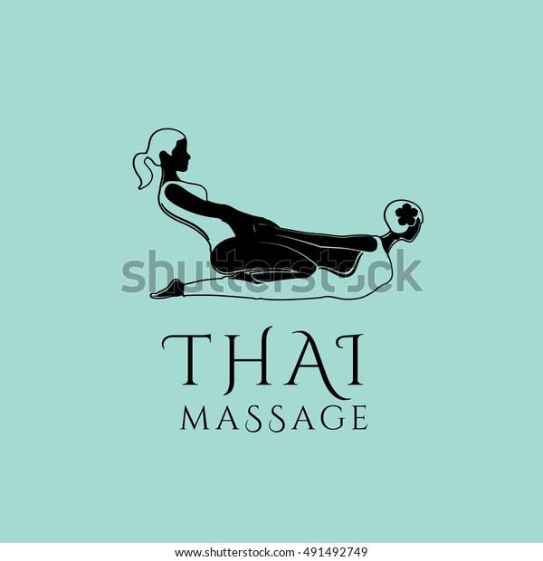 Thai Massage Vector Logo Design Template Stock Vector
