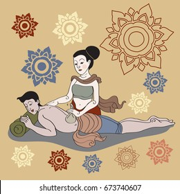 Thai massages style in colorful with hand drawn set illustration (vector)