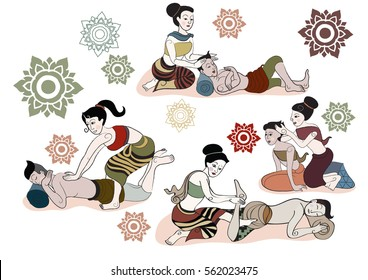 Thai massages style in hand drawn set illustration (vector)