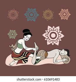 Thai massages style with vintage color tone in hand drawn illustration (vector)