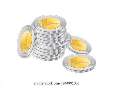 Thai money 10 baht coin stack vector