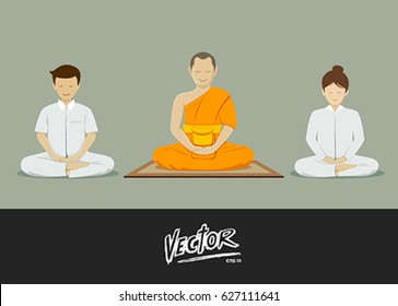 Thai monks and people meditation collections. vector illustration