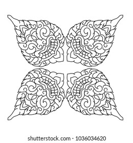 Thai Motif By Hand Drawn Sketch Illustration Vector