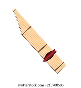 """Thai musical instruments called """"CAN"""",'Kh an',kind of reed mouth organ in northeastern Thailand, illustration"""