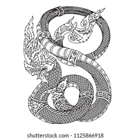 Thai Naga  isolate vector, Line Thai is Thailand Style and Tattoo design.