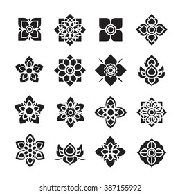 Thai ornament icon, flower vector set