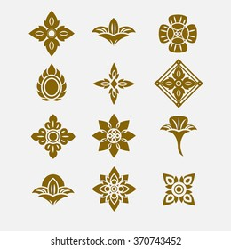 Thai ornament, Vector set of thai art design