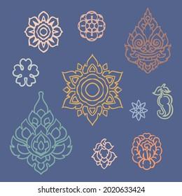 Thai Ornamental Icons Set, Anciant Lace in Thai Culture, Thai Traditional Pattern, Decorative Mandala Signs for Thai Art