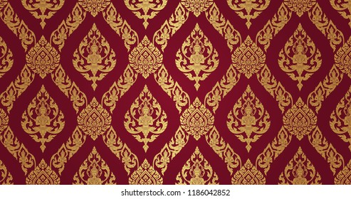 Thai Pattern dark red background