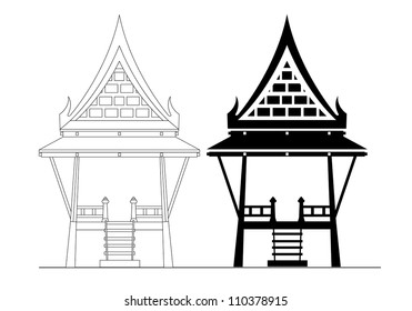 Thai pavilion Vector illustration isolated on white background