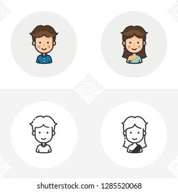 Thai people icon set. Vector illustration.