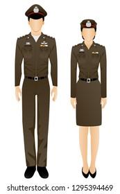 Thai police officer uniform graphic vector