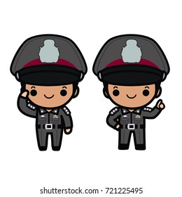 Thai polices in uniform ,salute and suggest pose ,cartoon style on white background