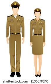 Thai prison officer uniform graphic vector