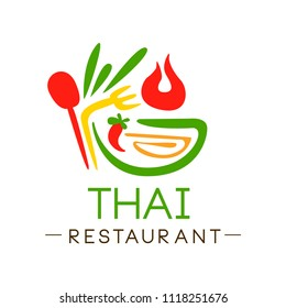 Thai restaurant logo design, authentic traditional continental food label vector Illustration on a white background