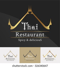Thai restaurant logo template design. Thai art decoration element. Vector illustration