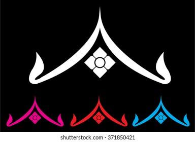 Thai roof icon, logo symbol abstract design, Thai art decoration element. Vector illustration