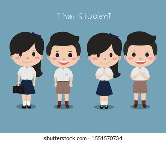Thai student. School uniform in Thailand