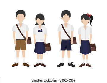 thai student in school uniform vector