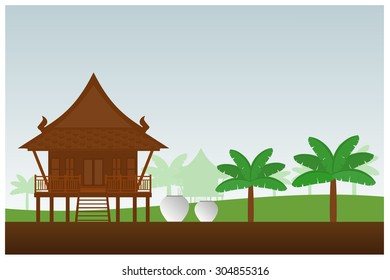 Thai style house. vector illustration